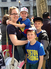 Cori Adams and her kids traveled from New Hampshire to watch her son's second grade teacher complete the marathon with a broken leg.  By Nidhi Prakash
